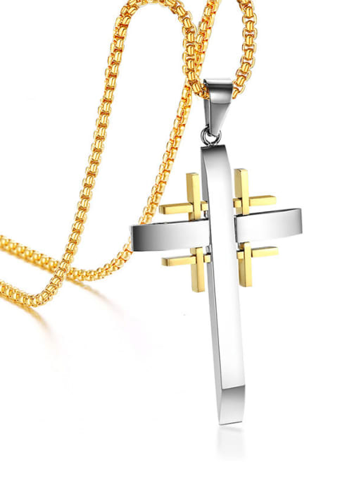 CONG Titanium Steel Rhinestone Cross Vintage Regligious Necklace