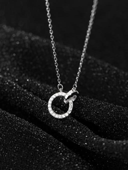 Rosh 925 Sterling Silver Rhinestone Geometric Minimalist Necklace