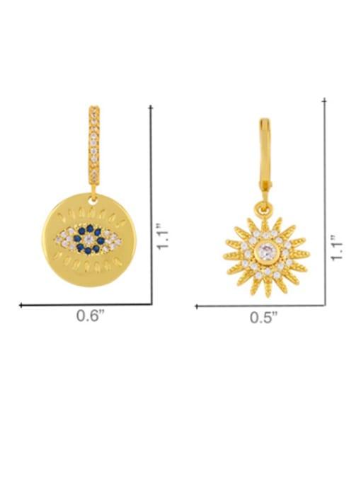 CC Copper Cubic Zirconia Flower Minimalist Drop Earring 3