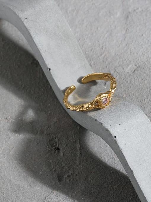 DAKA 925 Sterling Silver Cubic Zirconia Irregular Vintage Band Ring 1