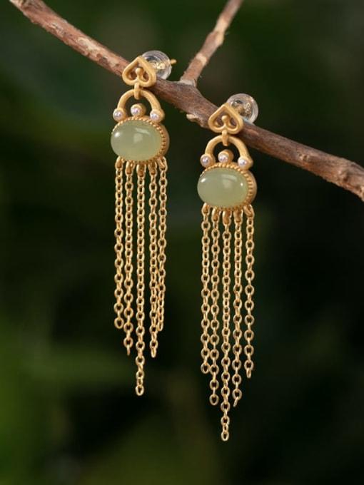 DEER 925 Sterling Silver Jade Tassel Vintage Drop Earring 2
