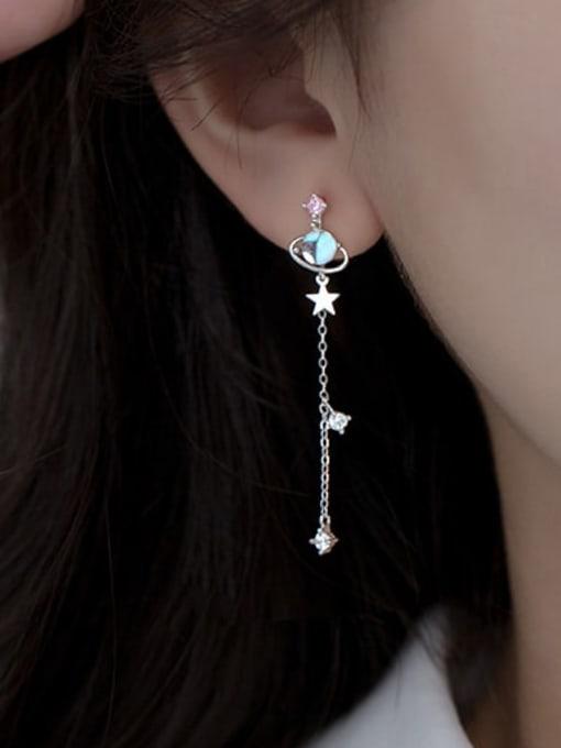 Rosh 925 Sterling Silver Glass Stone Tassel Minimalist Threader Earring 1