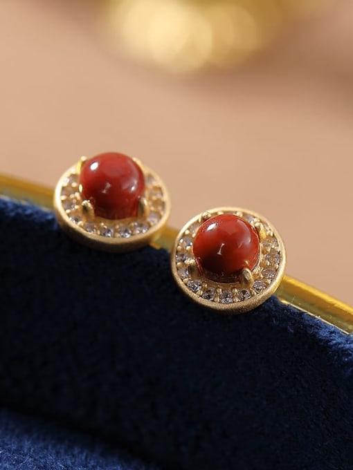 DEER 925 Sterling Silver Carnelian Round Vintage Stud Earring 2