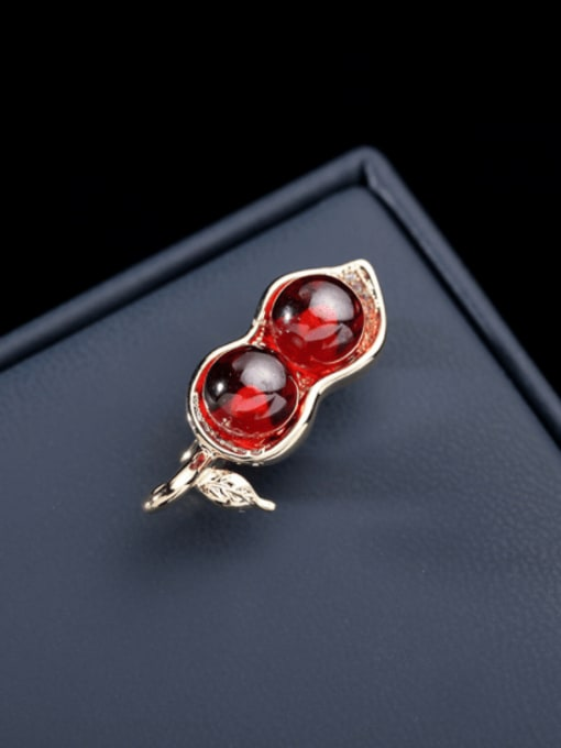 red Brass Cats Eye Irregular Minimalist Brooch