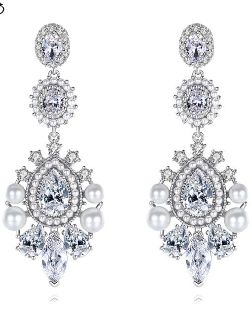 BLING SU Brass Cubic Zirconia Flower Luxury Drop Earring 3