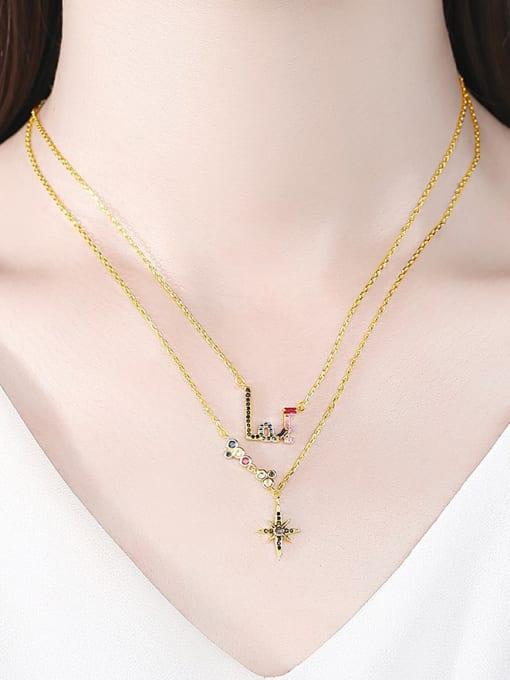 BLING SU Brass Cubic Zirconia Star Dainty Multi Strand Necklace 1