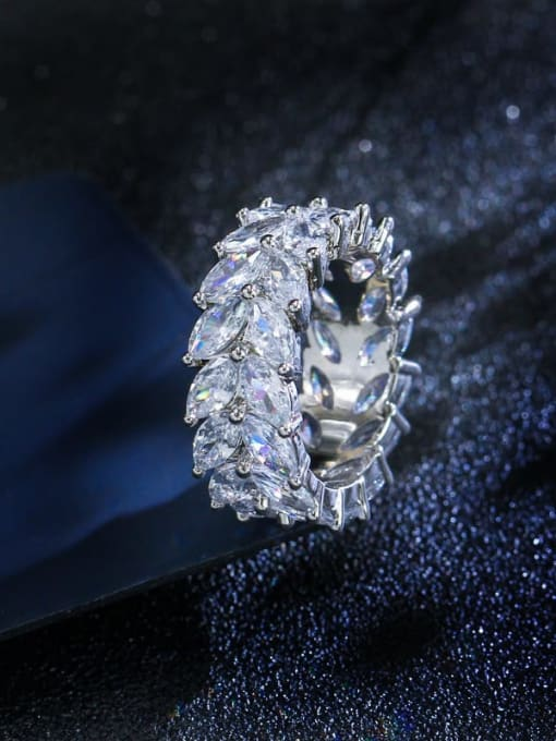 White US  7 Brass Cubic Zirconia Flower Luxury Cocktail Ring