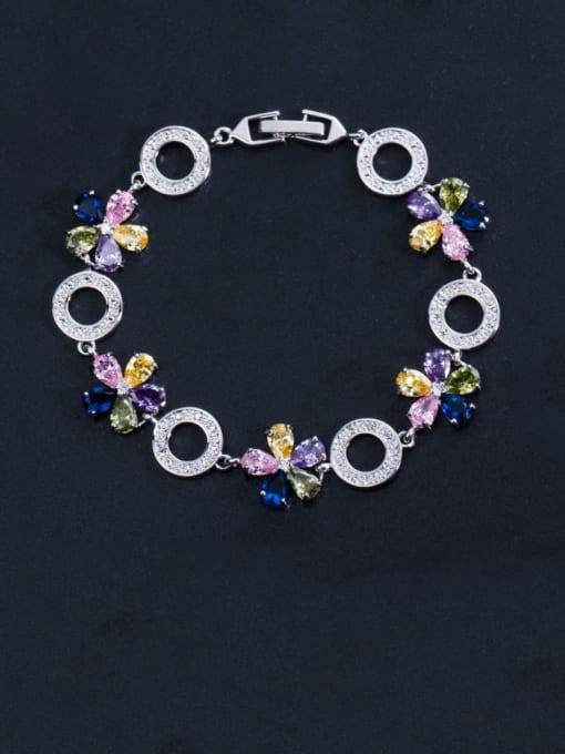 colour Brass Cubic Zirconia Flower Luxury Bracelet