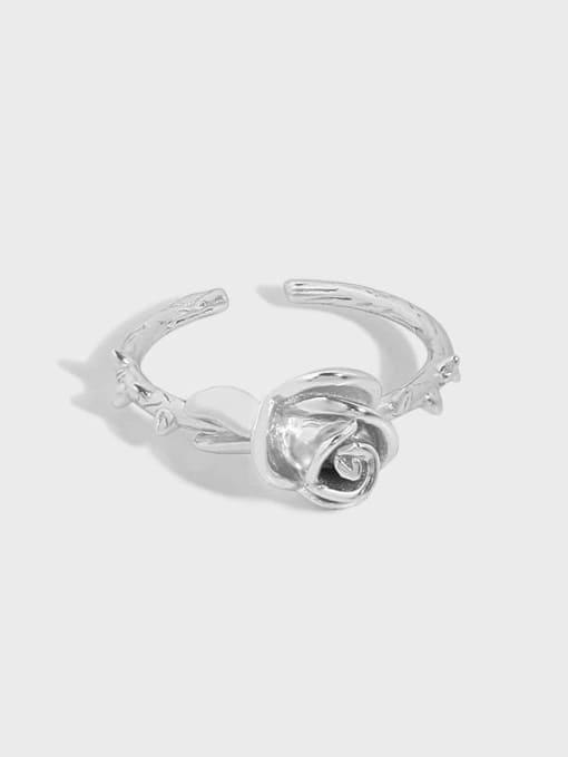 DAKA 925 Sterling Silver Flower Vintage Band Ring 3