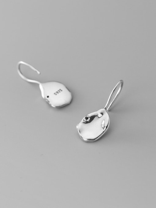 Rosh 925 Sterling Silver Smooth Geometric Minimalist Hook Earring 3