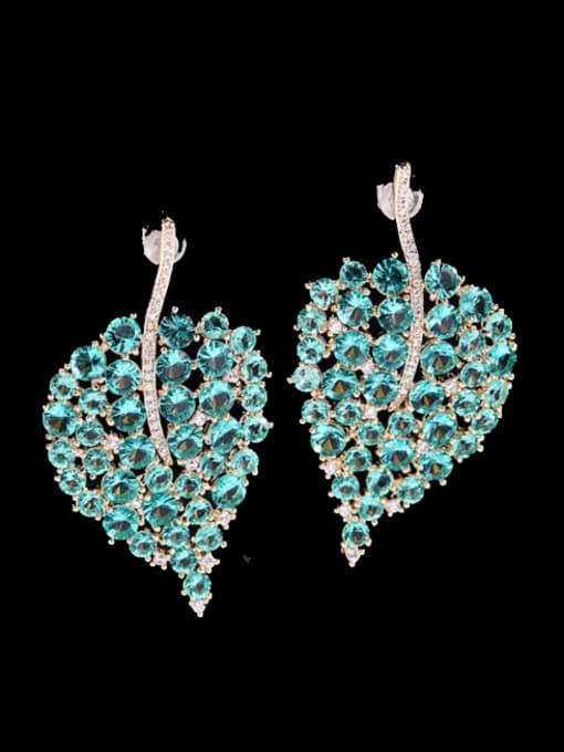 Blue Brass Cubic Zirconia Leaf Bohemia Stud Earring