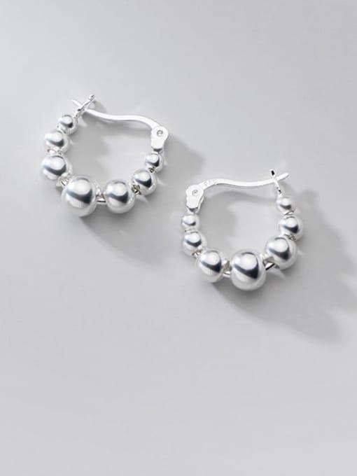 Rosh 925 Sterling Silver Bead Round Minimalist Huggie Earring 0