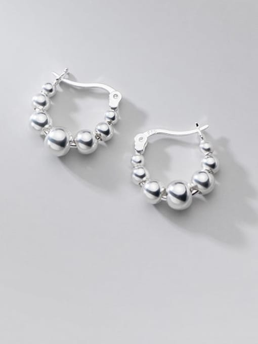 Rosh 925 Sterling Silver Bead Round Minimalist Huggie Earring