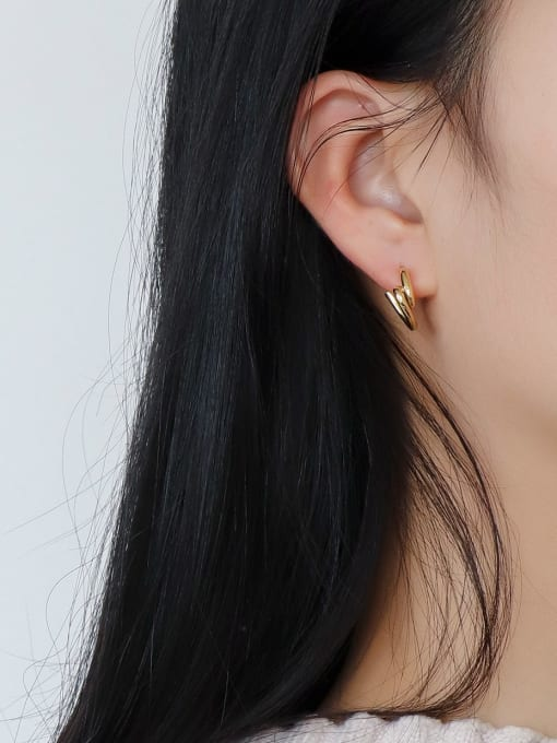 CHARME Brass Smooth Heart Minimalist Stud Earring 1