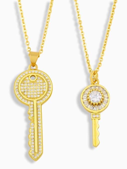 CC Brass Cubic Zirconia Key Hip Hop Pendant Necklace