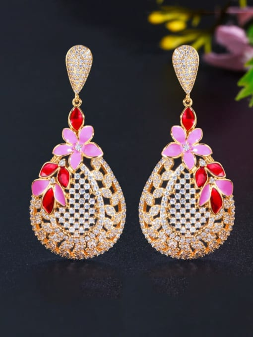 Golden red Brass Cubic Zirconia Flower Luxury Drop Earring