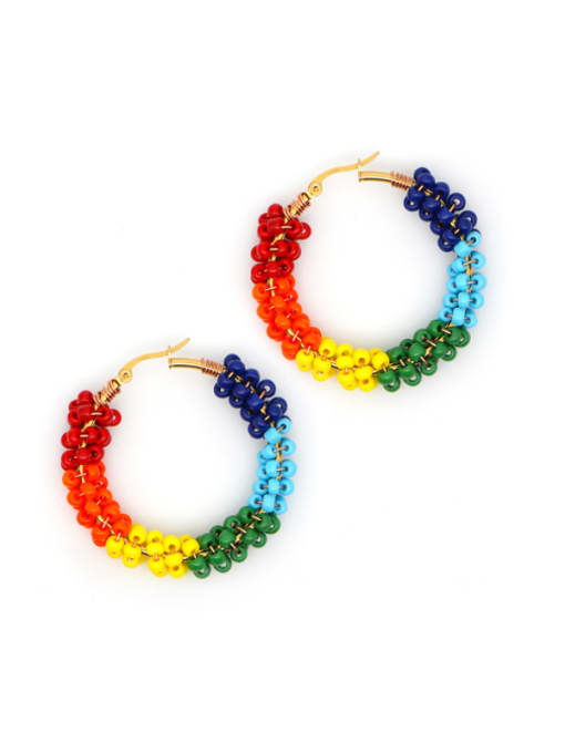 Roxi Stainless steel MGB  Bead Multi Color Geometric Bohemia Huggie Earring 0