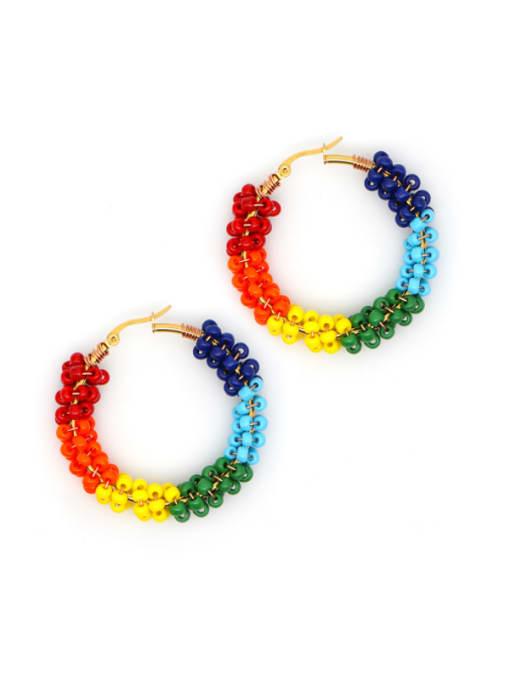 Roxi Stainless steel MGB  Bead Multi Color Geometric Bohemia Huggie Earring