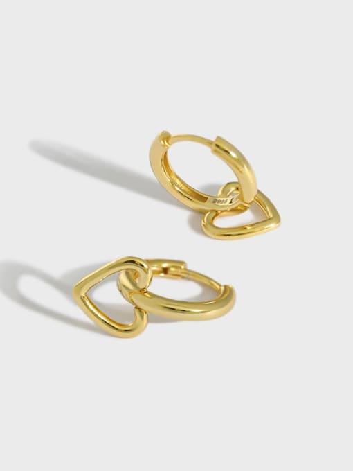 DAKA 925 Sterling Silver Smooth Heart Minimalist Huggie Earring