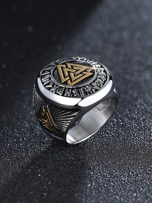 CONG Titanium Steel Irregular Vintage Band Ring 0