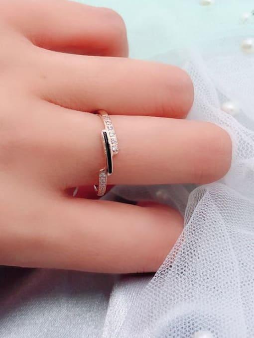 MIYA Titanium Steel Enamel Rhinestone Irregular Minimalist Band Ring 1