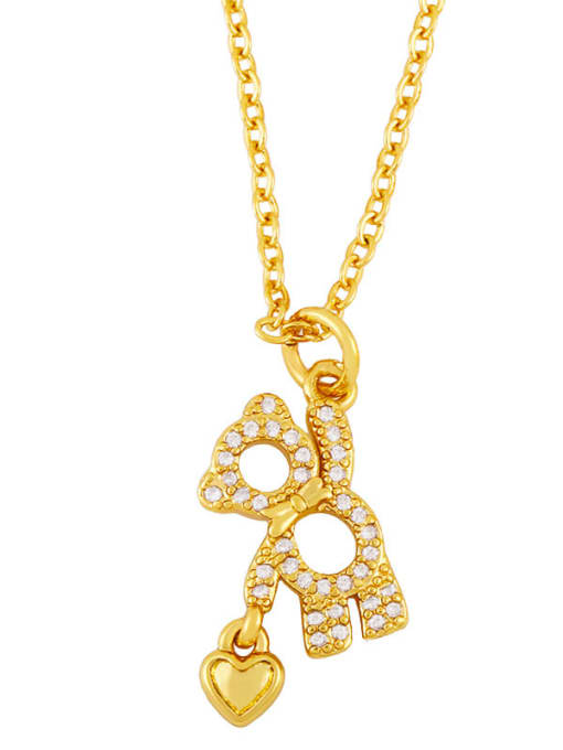 A Brass Cubic Zirconia  Hollow Bear Minimalist Necklace