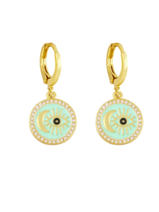 green Brass Enamel Evil Eye Vintage Huggie Earring