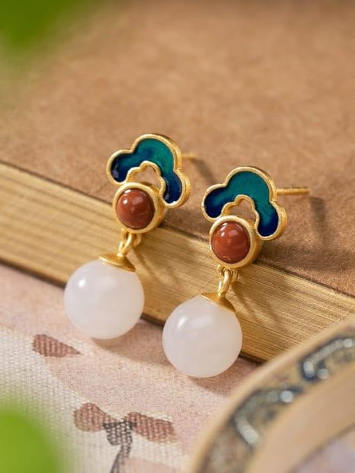 Earrings 925 Sterling Silver Jade Enamel Flower Vintage Drop Earring