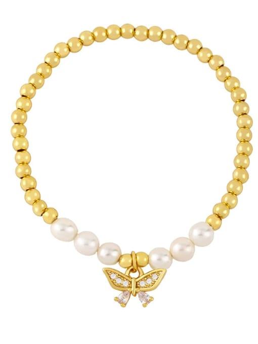 E Brass Cubic Zirconia Butterfly Vintage Beaded Bracelet
