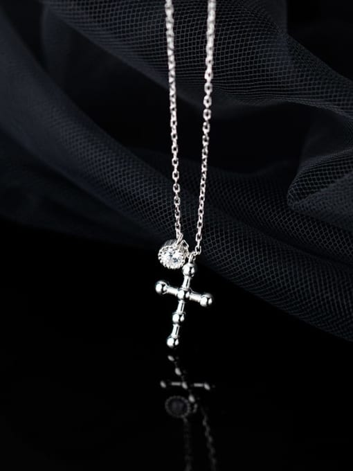 Rosh 925 Sterling Silver Cross Minimalist Regligious Necklace