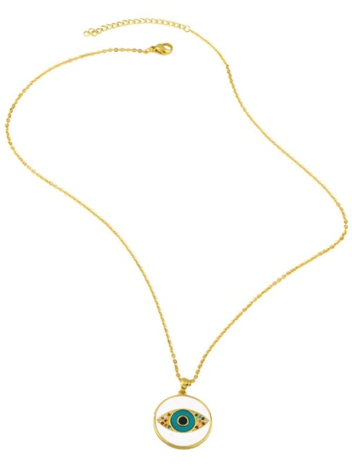 CC Brass Rhinestone Enamel Evil Eye Hip Hop Necklace 2