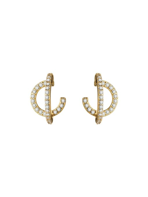 Rosh 925 Sterling Silver Cubic Zirconia Geometric Vintage Stud Earring 2
