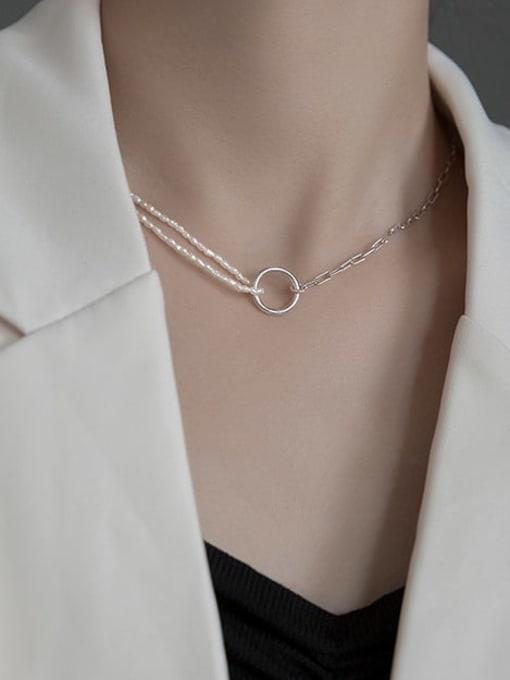 Rosh 925 Sterling Silver Geometric Minimalist  circle asymmetry Necklace 2