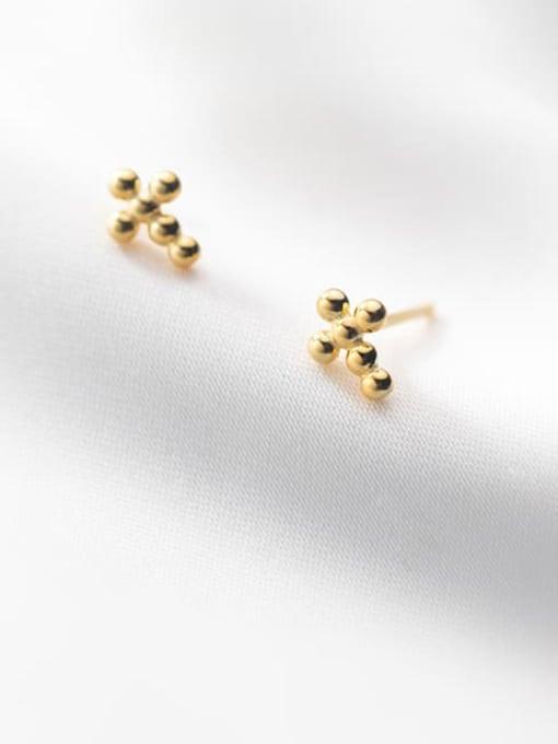 Rosh 925 Sterling Silver Cross Minimalist Stud Earring