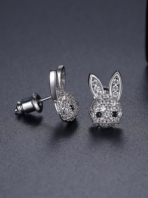 BLING SU Copper Cubic Zirconia rabbit Luxury Stud Earring 2