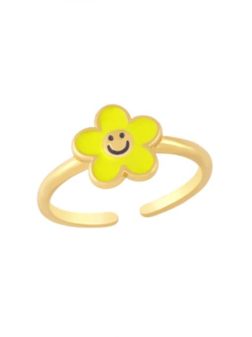 yellow Brass Enamel Smiley Minimalist Band Ring