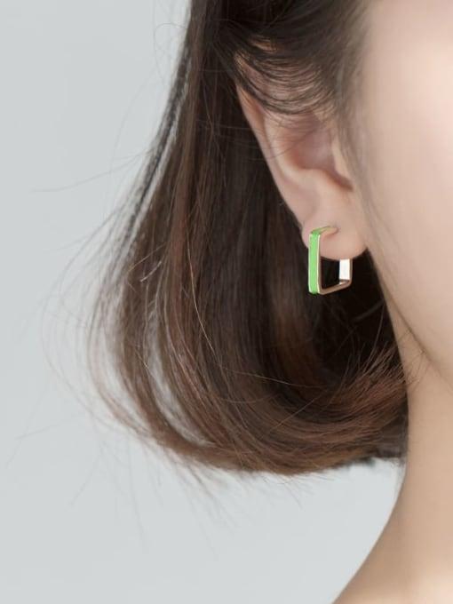 Rosh 925 Sterling Silver Enamel Geometric Minimalist Stud Earring 1
