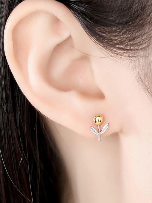 CCUI 925 Sterling Silver Flower Minimalist Stud Earring 1
