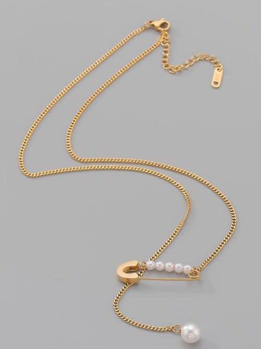 A TEEM Titanium Steel Imitation Pearl Geometric Minimalist Lariat Necklace 1