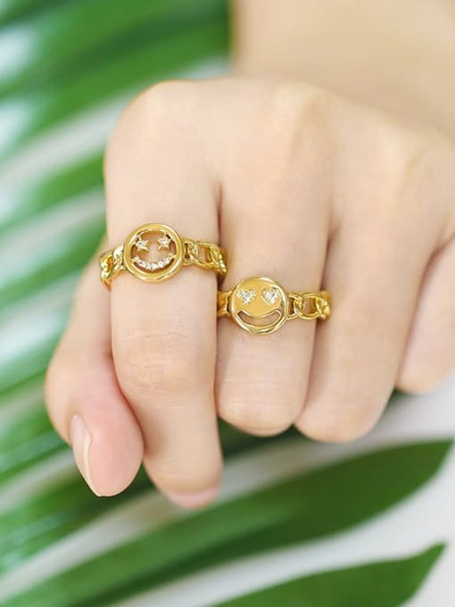 CC Brass Cubic Zirconia Smiley Vintage Band Ring 4