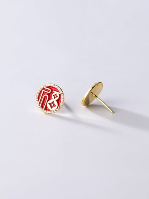 Rosh 925 Sterling Silver Cubic Zirconia Enamel Round Ethnic Stud Earring 3
