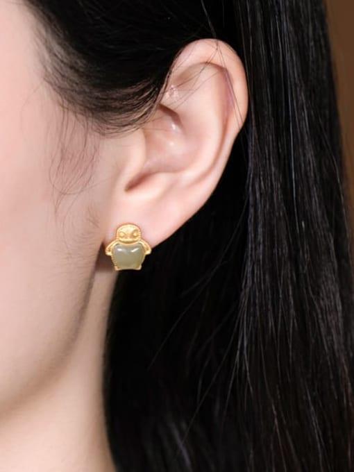 DEER 925 Sterling Silver Jade Irregular  penguin Cute Stud Earring 1