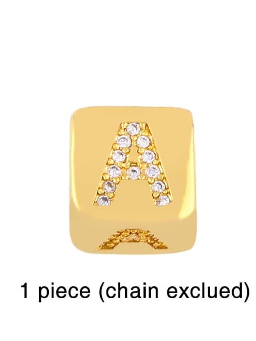 A Brass Cubic Zirconia square Letter Minimalist Adjustable Bracelet