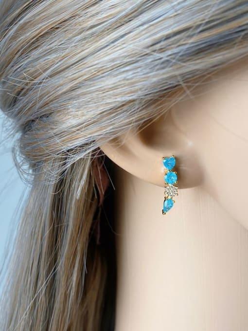 DUDU Brass Cubic Zirconia Geometric Luxury Stud Earring 3
