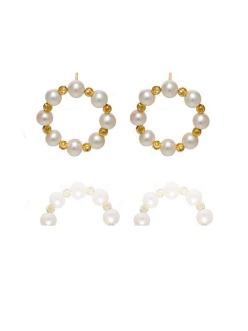 RAIN Brass Freshwater Pearl Geometric Vintage Stud Earring