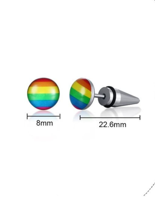 CONG Titanium Steel Multi Color Enamel Round Minimalist Stud Earring 3