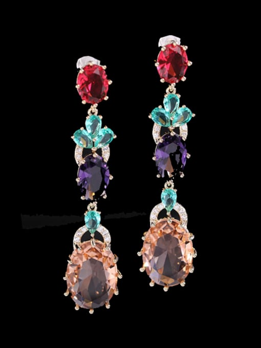 Champagne Brass Cubic Zirconia Flower Ethnic Drop Earring