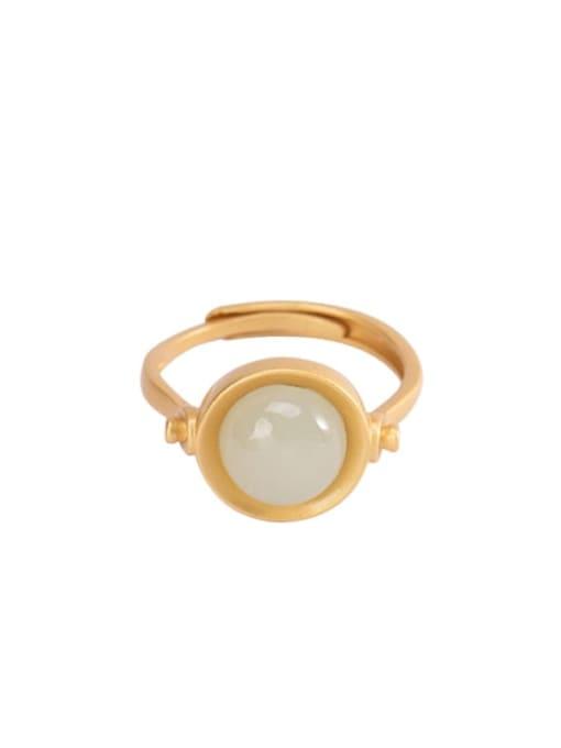 DEER 925 Sterling Silver Jade Geometric Vintage Band Ring 4