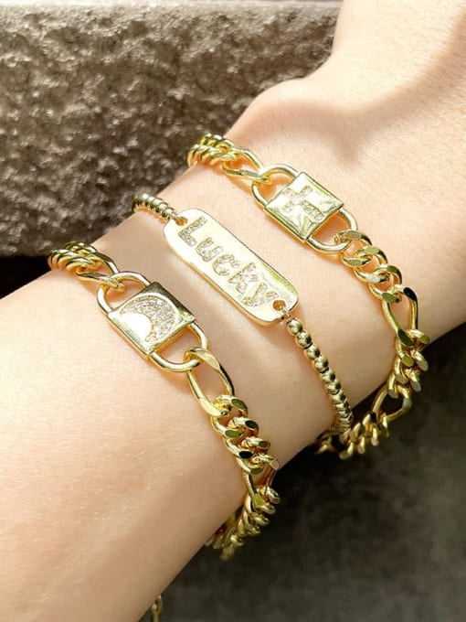 CC Brass Cubic Zirconia Moon Vintage Link Bracelet 1