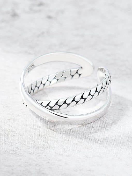 Cross snake Vintage Ring 925 Sterling Silver Twist Cross Vintage Band Ring